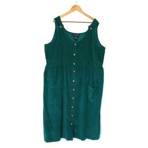 Vintage J.G. Hooks Green Corduroy Overall Dress